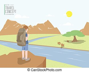 Backpacker standing on a cliff looking out to the landscape mountains view and animal. On a clear day flat vector.