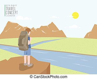 Backpacker standing on a cliff looking out to the landscape mountains view. On a clear day flat vector.