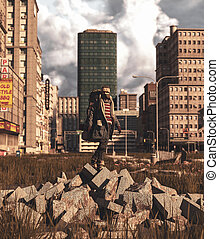 Backpacker standing on rubble block in abandoned city