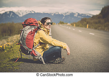 Backpacker Tourist - Female backpacker tourist in Icleand...