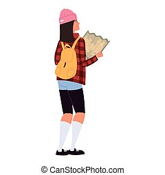 backpacker with map
