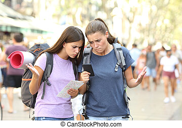 backpackers, gps, confuso, perso, posizione