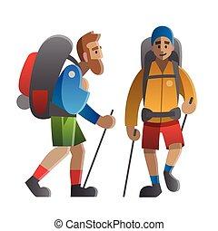 backpackers., hikers, hiking, dois, traveling., escalando, trekking