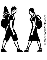 BACKPACKERS ICONS - Symbol Icons: Icons about a Girl and a...