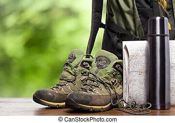 backpackers, mochila, sapatos