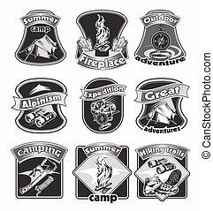 Backpacking Emblems Set