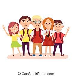 backpacks , μαθητής σχολείου , δεσποινάριο , τρία