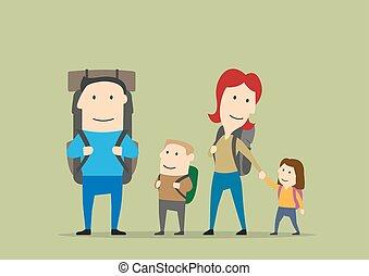 backpacks., 子供, 親, 家族ハイキング