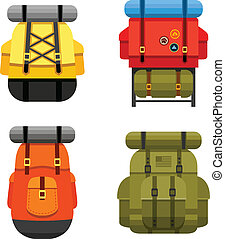 Backpacks - Set of camping and military backpack graphics ...