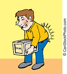 backpain - an individual lifting a heavy box incorrectly...