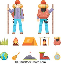 Backpaker Character Mountain Travel Trip Vacation Man Wood Summer Spring Concept Flat Design Isolated Icon Set Vector Illustration
