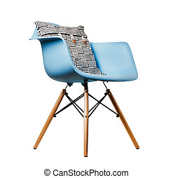 Backrest pillow on blue color chair isolated on white background.