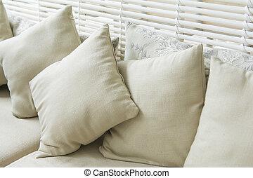 backrest pillow on sofa in room, rest