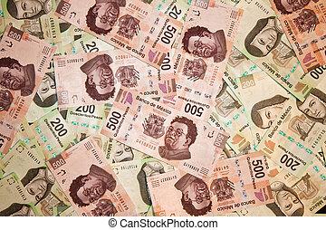 backround, cuentas, pesos mexicanos