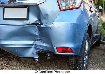 Backside of car get damaged by accident