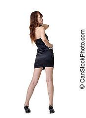 Backside of fashion woman