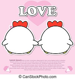 Backside of Lovely couple cute Cock hold hands together in Valentine and paper cut sticker concept
