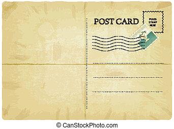 backside of old postcard with mark - vector illustration