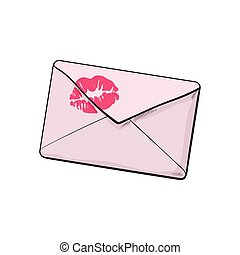 Backside of pink envelope with red lipstick kiss, love letter