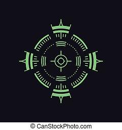 backsight, symbol, -, cel, radar, ikona, albo, snajper