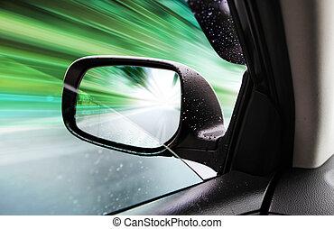 backspegel, av, fart bil