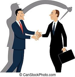 Dishonest businessman shaking hands with a person, his shadow showing him stabbing colleague in the back , EPS 8 vector illustration
