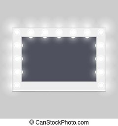Backstage dressing room makeup illuminated mirror hanging on white wall. Vector illustration.