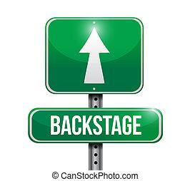 backstage, ontwerp, straat, illustratie, meldingsbord