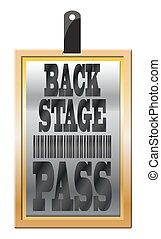 Backstage Pass Gold - A gold back stage pass isolated on a...
