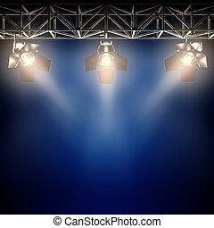 Backstage spotlights. - A 3d illustration of backstage...