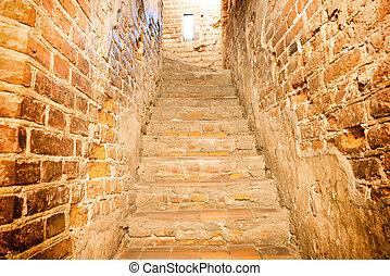 backsteintreppe, treppenaufgang
