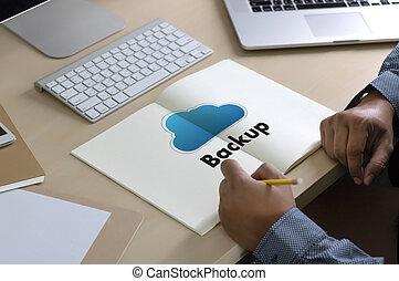 backup, ściąganie, kopie, od, dane, obliczanie, cyfrowy, dane, transferując