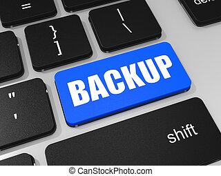 backup, chiave, su, tastiera, di, laptop, computer.