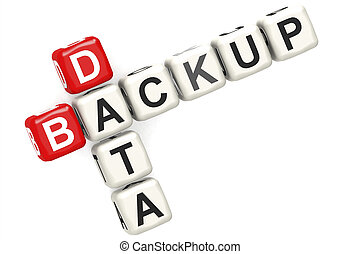Backup data word with red and white block