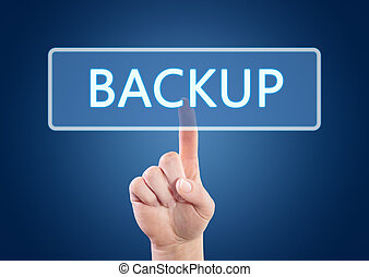 Backup - Hand pressing Backup button on interface with blue...
