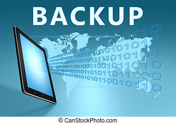 Backup illustration with tablet computer on blue background