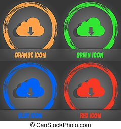 Backup icon. Fashionable modern style. In the orange, green, blue, red design. Vector