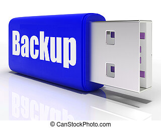 Backup Pen drive Shows Storage Organization Or Data Archiving