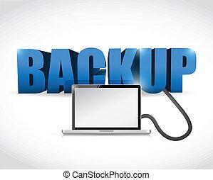 backup, segno, collegato, a, uno, laptop.