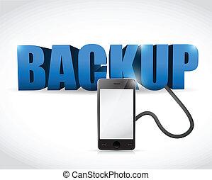 backup, segno, collegato, a, uno, smartphone.