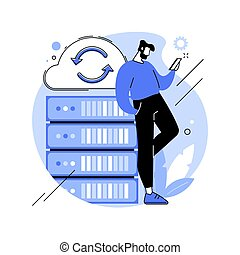Backup server abstract concept vector illustration. Online data backup software, secondary system remote server, retrieval services to connected computers and related devices abstract metaphor.