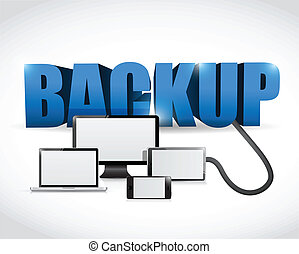 Backup sign connected to electronics. illustration design...