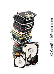 backup technologies - data background (floppy dissc, dvd,...