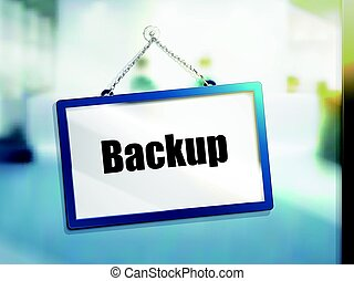 backup text sign
