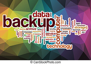 Backup word cloud with abstract background