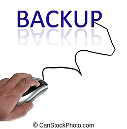 Backup word connected with pc mouse