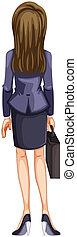 backview, negócio mulher