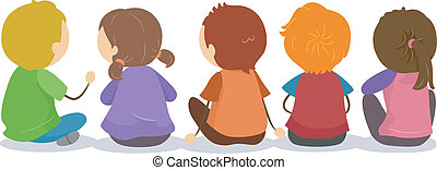 Backview of Kids Sitting on the Ground - Illustration of...