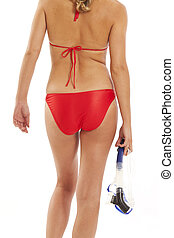 Backview of woman with snorkel
