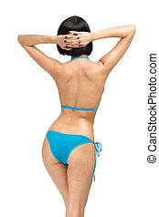 backview, van, vrouw, vervelend, bikini